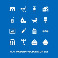 Modern, simple vector icon set on blue background with store, dessert, fireplace, old, oven, shop, home, medical, hook, cooking, fashion, snorkel, ball, fire, toy, doughnut, christmas, mask, art icons