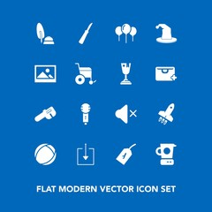 Modern, simple vector icon set on blue background with first, flight, frame, old, hat, celebration, birthday, song, circus, sound, volume, launch, calligraphy, tag, mute, decoration, food, voice icons