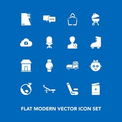 Modern, simple vector icon set on blue background with cute, paper, baby, championship, sale, barbecue, bag, grill, file, smart, airplane, vehicle, cloud, time, sign, competition, childhood, kid icons