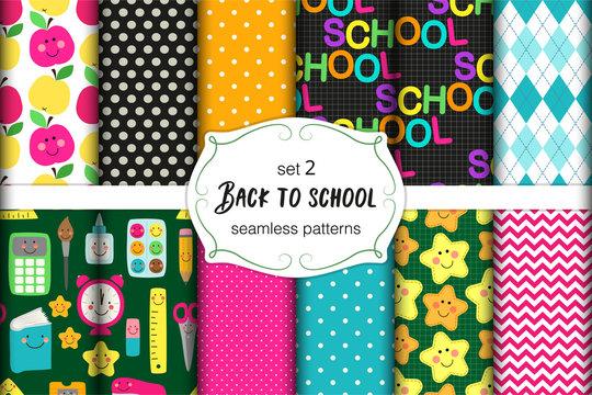 Cute set of Back to School childish seamless patterns