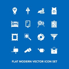 Modern, simple vector icon set on blue background with filter, sign, air, message, cake, repair, dessert, sweet, location, cardboard, machinery, mailbox, conditioner, frame, equipment, container icons