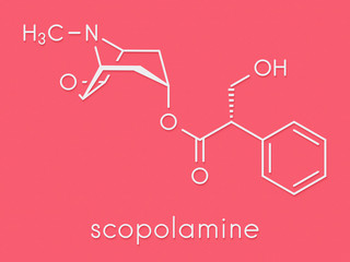 Scopolamine (hyoscine) anticholinergic drug molecule. Used in treatment of nausea, vomiting and motion sickness. Skeletal formula.