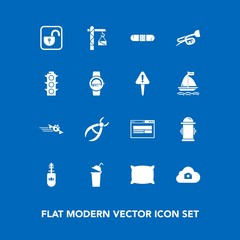 Modern, simple vector icon set on blue background with dentistry, web, protection, medicine, trumpet, hydrant, photo, safety, black, fashion, home, bed, clinic, white, cup, brush, makeup, fire icons
