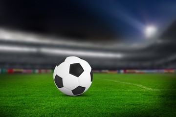 Close-up of soccer ball in soccer stadium