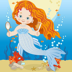 Small mermaid with comb and mirror on the seabed