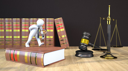 Manikin Loupe Gavel Scale Law Books