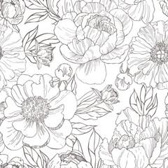 Hand drawn peonies. Vector seamless  pattern.