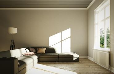 Eingerichtetes Wohnzimmer mit Sofa und mehreren Fenstern