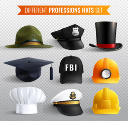 Professions Hats Transparent Set