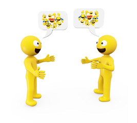 two yellow characters talking