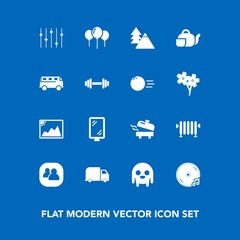 Modern, simple vector icon set on blue background with tea, water, nature, group, teapot, tree, beverage, road, street, delivery, landscape, service, picture, environment, space, team, monster icons