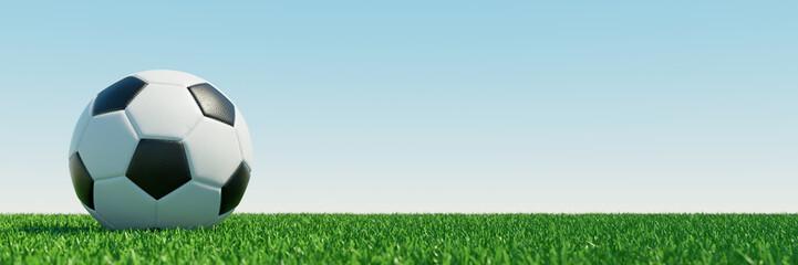 Fußball auf Rasen als Hintergrund