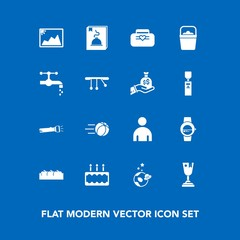 Modern, simple vector icon set on blue background with space, astronaut, exploration, science, apple, fruit, image, soccer, time, watch, food, spaceship, photo, lamp, flashlight, sport, football icons