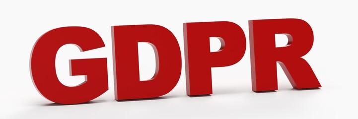GDPR als 3D Schriftzug in Rot in weißem Raum