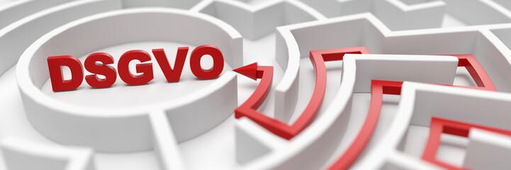 DSGVO als Ziel in einem Labyrinth als Erfolg Konzept