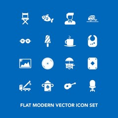 Modern, simple vector icon set on blue background with armchair, milk, musical, car, frame, tow, vehicle, sea, trailer, bottle, boy, dvd, male, truck, van, seafood, seat, ice, travel, game, disk icons