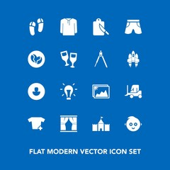 Modern, simple vector icon set on blue background with clothes, frame, energy, cute, business, profile, electricity, curtain, car, home, fashion, transport, restaurant, tower, wine, fork, shorts icons