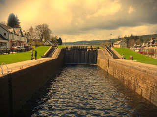 Fort Augustus, highlands Scotland - showing one of the locks on the Caledonian Canal. This canal joins onto Loch Ness.