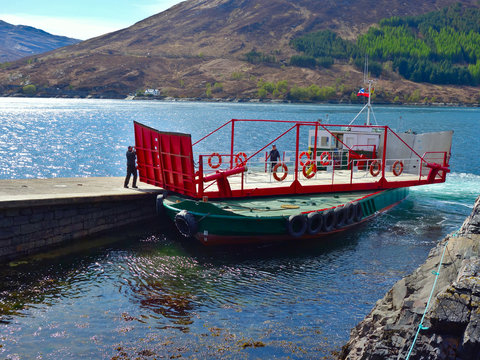 Glenelg ferry to Skye, Scottish Highlands- shows the smallest ferry and the most beautiful short crossing- shows top deck of ferry spinning to allow vehicles to be loaded and unloaded.