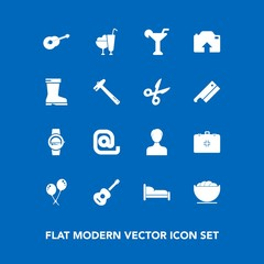 Modern, simple vector icon set on blue background with birthday, bed, photo, equipment, food, time, communication, emergency, drink, smart, white, alcohol, guitar, martini, sweet, bedroom, user icons