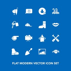 Modern, simple vector icon set on blue background with tool, face, water, video, shovel, plastic, cream, projector, construction, oar, dessert, referee, whistle, cheese, sign, boot, add, milk icons