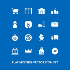 Modern, simple vector icon set on blue background with map, kamon, hygiene, dental, baby, cargo, king, transport, money, japanese, bank, mouthwash, business, crown, grill, real, child, japan icons