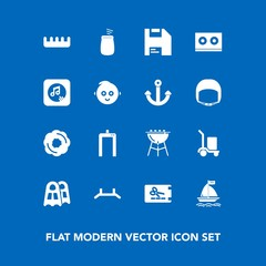 Modern, simple vector icon set on blue background with up, warehouse, care, coupon, childhood, musical, comb, delivery, package, cooking, diskette, doughnut, barbecue, sound, baby, cake, brush icons
