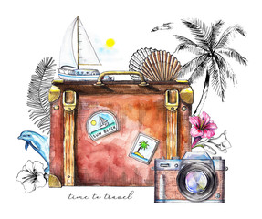 Composition with  branch, flowers, shell, photo camera, suitcase, palm tree, yacht and dolphin on white background. Watercolor hand drawn illustration
