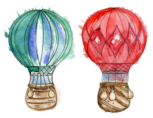 Red and turquoise air balloons. Watercolor set.
