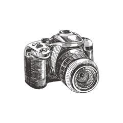 Beautiful vector hand drawn photo camera Illustration.