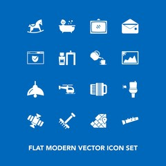 Modern, simple vector icon set on blue background with station, communication, home, horse, toy, raking, restroom, garden, world, flight, tv, gardening, music, map, accordion, musical, baby, wc icons