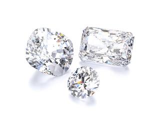 3D illustration isolated group of three white round diamonds stones