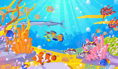Underwater marine life, vector cartoon illustration. Ocean or sea bottom with colorful fishes, coral reefs and seaweeds.