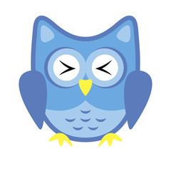 Owl stylized icon blue colors