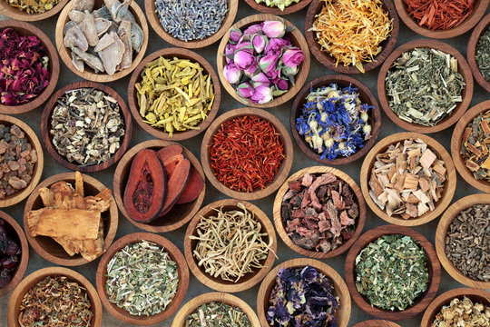 Herbal medicine used in alternative remedies with a variety of dried herbs and flowers in wooden bowls. Top view.