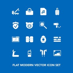 Modern, simple vector icon set on blue background with tow, sport, cylinder, truck, check, swine, layout, business, template, accident, mobile, gym, picture, car, treadmill, online, vintage, bag icons