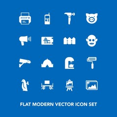 Modern, simple vector icon set on blue background with photo, safety, machine, children, business, phone, desk, roller, office, technology, art, travel, image, espresso, baby, telephone, work icons