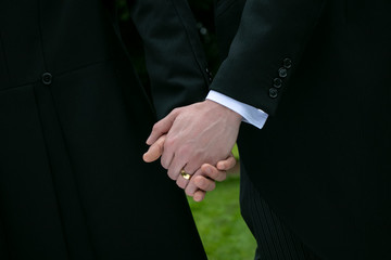 Gay wedding, grooms, husbands holding hands with wedding ring on show