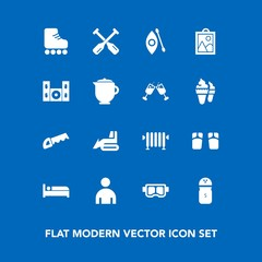 Modern, simple vector icon set on blue background with industry, food, flip, travel, skating, salt, beach, leisure, boiler, pepper, sport, bulldozer, saw, picture, boat, hotel, skate, activity icons