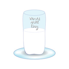 World Milk Day. Inscription lettering, doodle. Hand draw. A glass of milk. Vector illustration on isolated background.