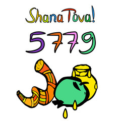 Shofar on Rosh Hashanah. Sketch, doodle, hand draw. Lettering inscription translated Shana Tova Happy Rosh Hashanah. 5779, honey, apple. Vector illustration on isolated background.