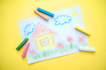 Children's drawing with a house
