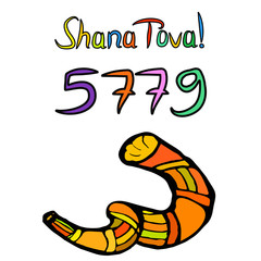 Shofar on Rosh Hashanah. Sketch, doodle, hand draw. Lettering inscription translated Shana Tova Happy Rosh Hashanah. 5779, Vector illustration on isolated background.