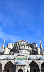 the exterior of the Blue Mosque (Sultanahmet Mosque) in Istanbul