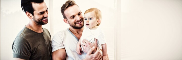 Gay couple with child at home