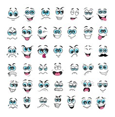 face expression cartoon set. vector illustration