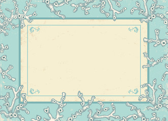 Vintage card with white corals.
