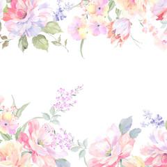 Watercolor rose flower