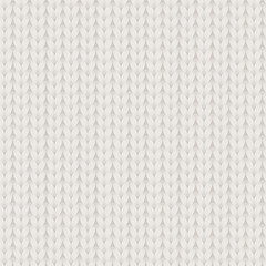 White and beige knitted fabric seamless pattern, vector