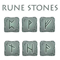 Set of Square Grey Rune Stones